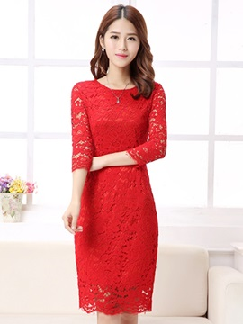 Plain Round Neck Floral Women's Lace Dress