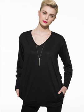 Big V-Neck Batwing Sleeves T-Shirt