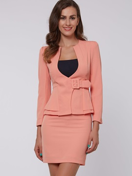 Solid Color Side-Tie Ruffle Blazer & Sheath Skirt