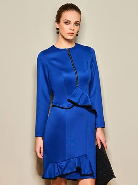 Falbala Solid Color Sleeve Work Day Dress
