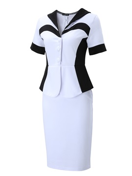 Contrast Two in One Short Sleeve Work Bodycon Dress