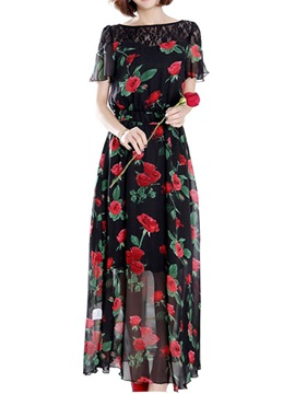 Floral Print Lace Patchwork Short Sleeve Maxi Dress
