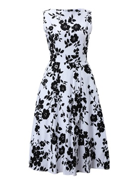 Floral Round Neck Sleeveless Vintage Women's Swing Dress