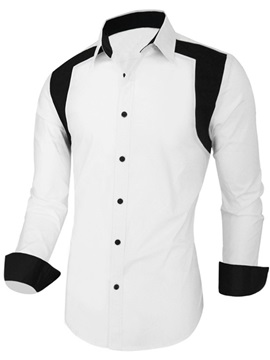 Color Block Casual Men's Shirt