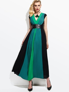 Contrast Color V Neck Backless Maxi Dress