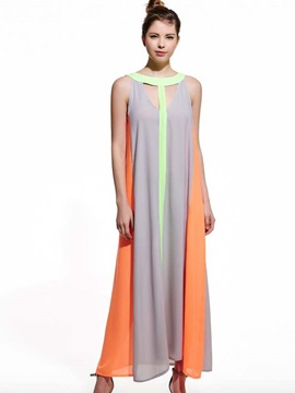 Contrast Color Hollow Sleeveless Maxi Dress