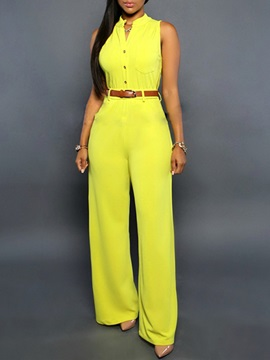 Solid Color Buckle V-Neck Jumpsuit