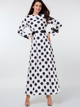 Polka Dots Long Sleeve Empire Waist Maxi Dress