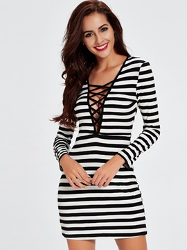 Chic V-Neck Hollow Vertical Striped Bodycon Dresses