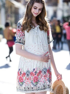 Elegant Floral Tie-Neck Maternity Dress