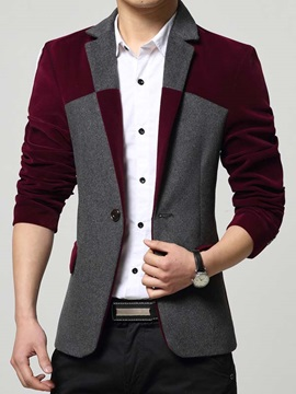 Men's Front Patchwork Notched Collar One Button Jackets