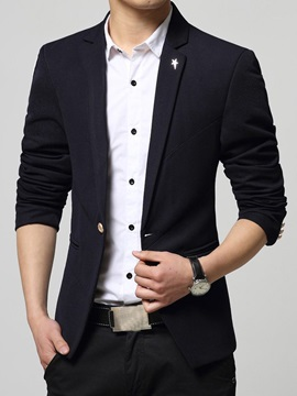 Solid Color Slim Fit One Button Men's Blazer