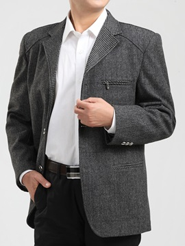 Notched Collar Three Buttons Men's Cotton Blend Blazer