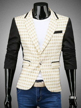 Color Block Notched Collar Men's Printing Blazer