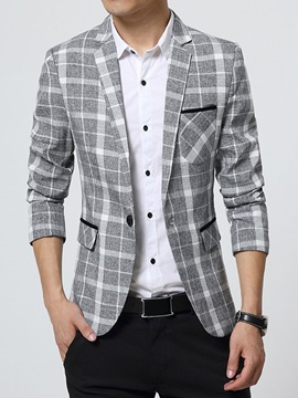 Colorful Plaid Chest Pocket One Button Men's Blazer