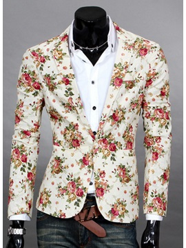 Floral Printed Lapel Men's Casual Blazer