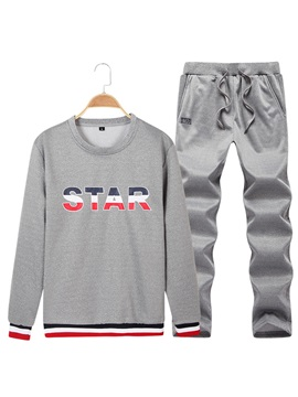 Round Neck Letter Printed Casual Men's Outfit