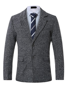 Double-Button Notched Collar Men's Wool Blends Blazer