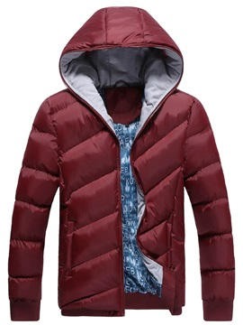 Solid Color Hooded Zipper Men's Casual Down Jacket