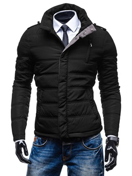 Solid Color Zipper Men's Causal Down Jacket