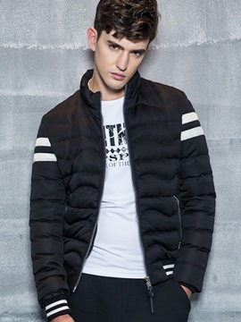 Color Block Casual Zipper Men's Warm Down Jacket