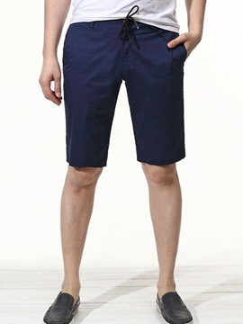 Solid Color Lace Up Men's Casual Knee Length Shorts