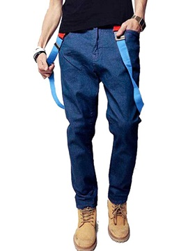 Loose Fit Solid Color Men's Braces Denim Pants