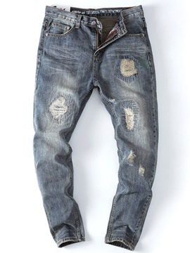 Straight Zipper Men's Worn Jeans