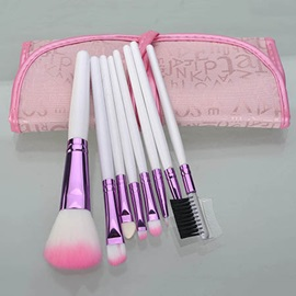 8 Pcs Artificial Fiber Wood Handle Cosmetic Brush Set