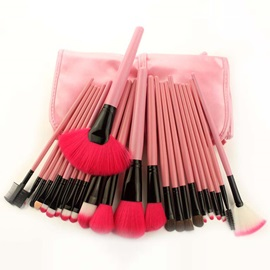 Hot Sale 24 Pcs Pink Handle Portable Makeup Brush Set