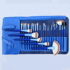 24 Pcs Animal Fibers Wood Handle Cosmetic Brush Set