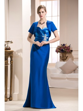 Bright Caystal Floral Pin Column Floor-Length Strapless Mother of the Bride Dress