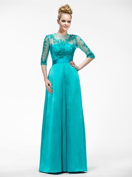 Floor Length A-Line Appliques Jewel-Neck Half-Sleeve Mother of the Bride Dress