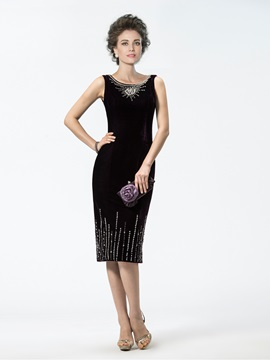 Sheath Scoop Sequins Beading Knee-Length Enchanting Mother of the Bride Dress