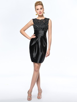 Classical Sleeveless Sheath Short Black Mother Of The Bride Dress