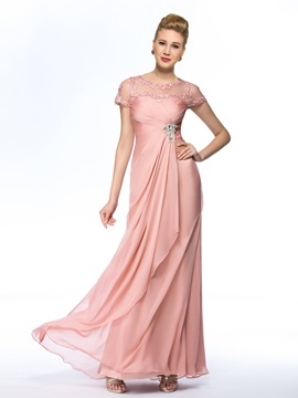 Eye-catching Jewel Neck Short Sleeves Chiffon Pink Long Mother of the Bride Dress