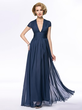 V-Neck Short Sleeve Chiffon Blue Long Mother Of the Bride Dress