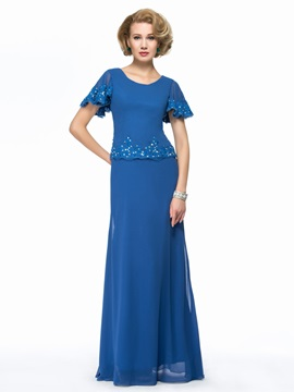 Beaded Chiffon Blue Long Mother of the Bride Dress
