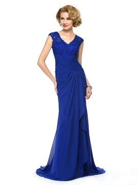 Beaded Lace V-Neck Chiffon Blue Long Mother of the Bride Dress