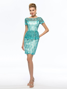 Cheap Blue Short Lace Mother of the Bride Dress Petite