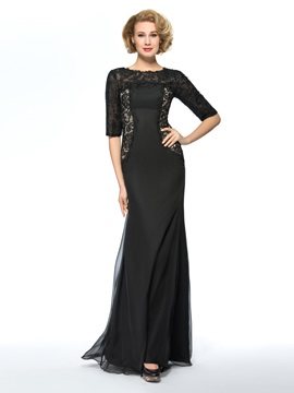 Black Long Lace Mother of the Bride Dress with Sleeves