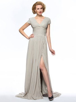 Dazzling V-Neck Split-front Sweep Train Chiffon Mother of the Bride Dress with Sleeves Long