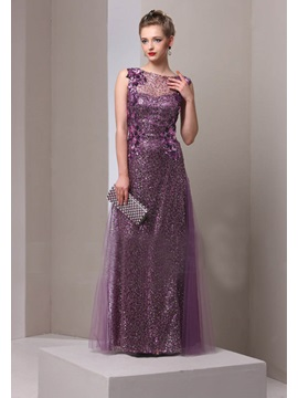 Classy Jewel Neck Sequin Long Mother of the Bride Dress