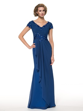 Sheath V-Neck Cap Sleeves Floor-Length Mother of the Bride Dress