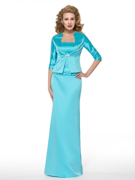 Crystal Brooch Matte Satin Mother of the Bride Dress with Half Sleeve Jacket