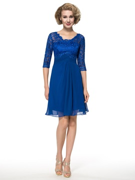 Half Sleeve Knee-Length Lace Chiffon Mother of the Bride Dress