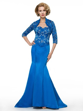 Designer Sweetheart Hollow Beading Mermaid Mother of the Bride Dress with Jacket