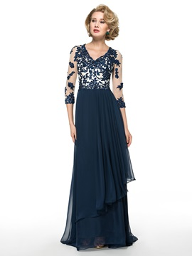3/4 Length Sleeve Beading Lace Chiffon A-Line Mother of the Bride Dress