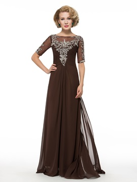 Beading Sequins Floor-Length Chiffon Half Sleeve Mother of the Bride Dress