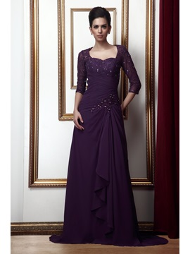 A-line Lace Sequins Beaded Sweetheart 3/4-Length Sleeves Floor-Length Taline's Mother/Evening Dress